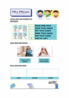Interactive worksheet Song:-Wash your hands with baby shark-