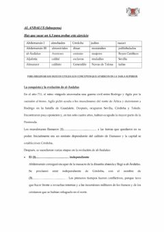 Interactive worksheet (2 eso) Al-Andalus resumen