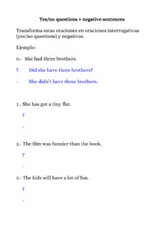 Ficha interactiva Year 10 summer review work - part 2 - yes-no questions and negatives