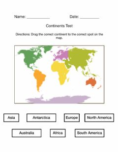 Interactive worksheet Continents Test