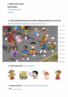 Interactive worksheet How do they feel?