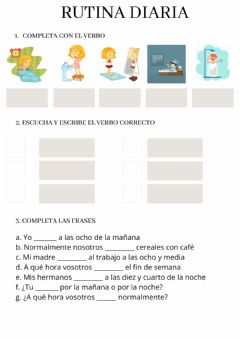 Interactive worksheet Rutina diaria
