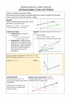 Interactive worksheet Operaciones con vectores
