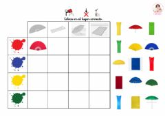 Interactive worksheet Tabla de doble entrada con colores