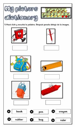 Ficha interactiva Picture Dictionary - School Objects