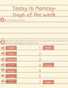 Ficha interactiva Today is Monday- Days of the Week