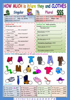 Interactive worksheet How much... clothes