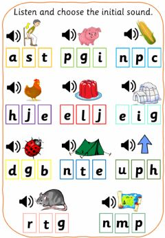 Interactive worksheet Listen and choose the initial sound