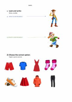 Interactive worksheet Clothes and Home activities
