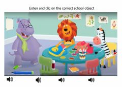 Ficha interactiva Listen and clic on the correct school object