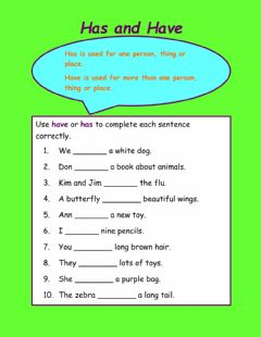 Interactive worksheet Has and have
