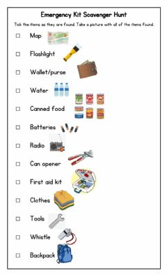 Interactive worksheet Hurricane Emergency Kit Scavenger Hunt