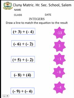 Interactive worksheet class 7 maths 2