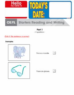 Interactive worksheet Starters reading and writing part 1 and 2