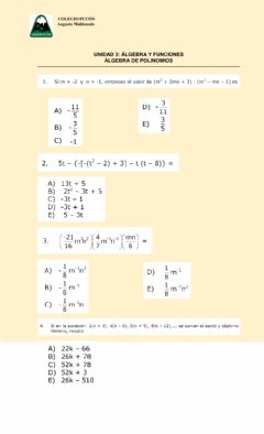 Interactive worksheet Álgebra