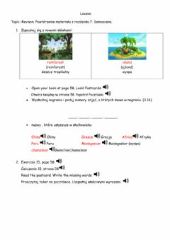 Interactive worksheet Revision Unit 7