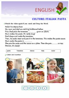 Interactive worksheet Italian  pasta