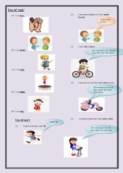 Interactive worksheet Use of can-can't