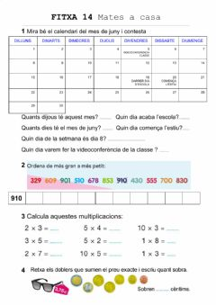 Interactive worksheet FITXA 14 MATES 2n