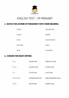 Ficha interactiva English Test - 3er Trimestre