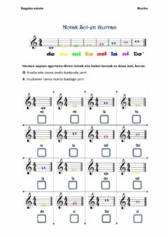 Interactive worksheet Nota musikalak III