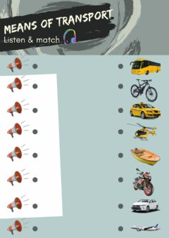 Interactive worksheet Means of transport - listen and match