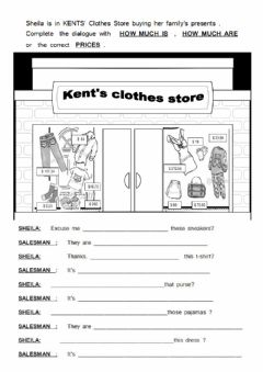Interactive worksheet Shopping