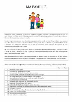 Interactive worksheet La famille de Christophe