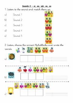 Interactive worksheet Sounds 1 (ai-igh-ee-oa-oo)