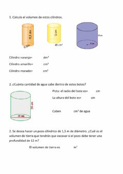 Interactive worksheet Volumen cilindros