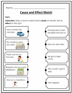 Interactive worksheet Cause and Effect Match