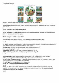 Interactive worksheet Suggestions and opinions
