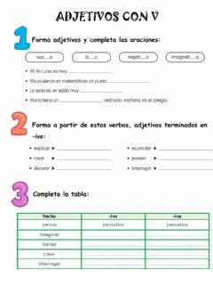 Interactive worksheet Adjetivos con v