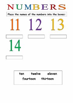 Interactive worksheet Number Names 11-14