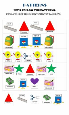 Ficha interactiva Shapes and school objects patterns