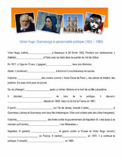 Interactive worksheet Biographie victor hugo