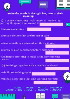 Interactive worksheet 4) Look for the words in the dictionary and match them to the right meaning.