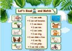 Ficha interactiva 2.10. Animals - Let's Read and Match 2