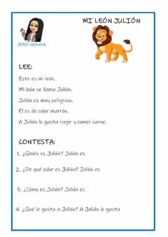 Interactive worksheet Comprensión lectora: mi leon