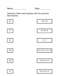 Ficha interactiva Match Exponents to Equations