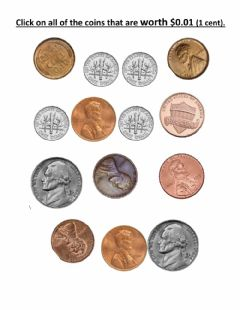 Ficha interactiva Select the coins worth 1 cent