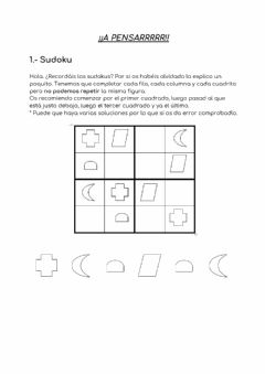 Interactive worksheet Sudoku + enigma + percepción