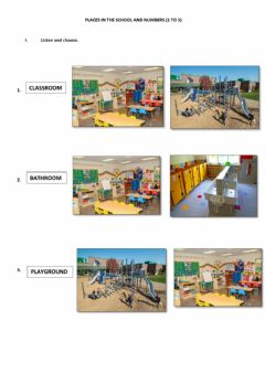 Ficha interactiva Places in the school- Numbers (1 to 5)