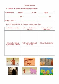 Interactive worksheet Prehistory