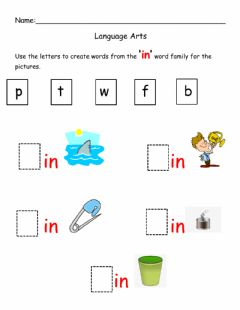 Interactive worksheet Creating words from In Word Family