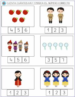 Interactive worksheet Blancanieves - contar elementos 1 a 5