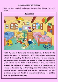 Ficha interactiva Reading comprehension. My bedroom