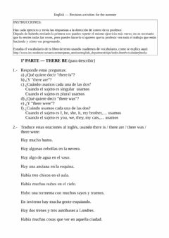 Ficha interactiva Review work 1 - there is - are - was - were