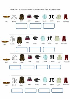 Interactive worksheet Pirate clothes listening and writing