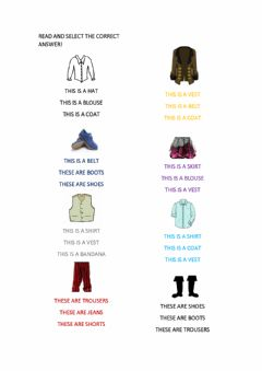 Interactive worksheet Pirates clothes read and select